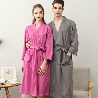 0d1b083737 Womens Mens Cotton Waffle Pajamas Bath Robe Suck Sweat Kimono Bathrobe  Summer