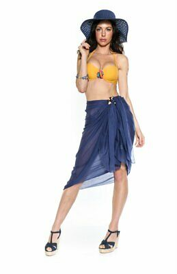 cce6c859ea86e 1 World Sarongs Womens Swimsuit Cover-Up Light Weight Cotton Sarong in Navy  Blue