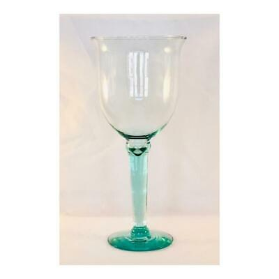 Collectible Very Large.Lt.Sage Green Blown Glass Wine Chalice/Water Goblet