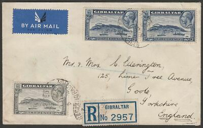 Gibraltar 1938 KGV 3d x3, 2d Used on Registered Airmail Cover to UK
