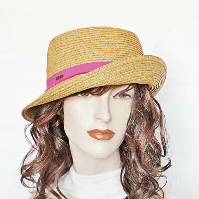 ae9a853e6214f New NINE WEST Packable Toyo Straw Cloche Sun Hat Pink Band UPF 50+ Womens  Hats
