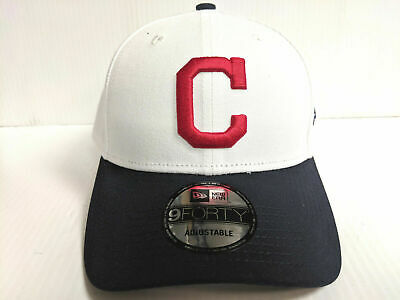 low priced ae50b 0c8f1 Cleveland Indians New Era 9Forty Cap Hook   Loop The League White Hat MLB