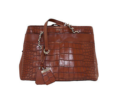 Womens GUESS Katiana Girlfriend Satchel Crocodile Brown Chain Tote Bag Purse cffba2ea0cd4f