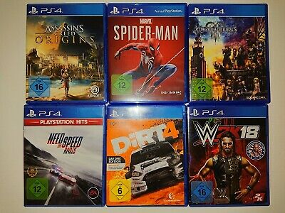 Playstation 4 Spiele Fifa 19,Dirt 4, NFS Rivals, Kingdom Hearts III, Spider Man