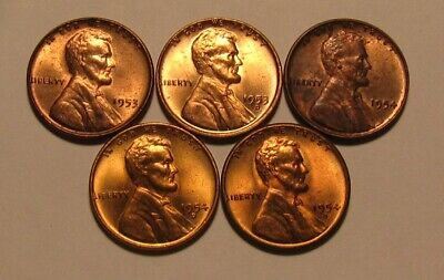 1953 PD & 1954 PDS Lincoln Cent Penny - Mixed BU Condition - 27FR