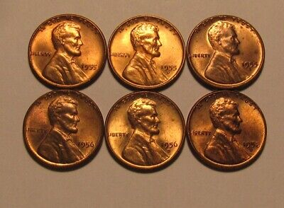 1955 PDS 1956 PD 1958 D Lincoln Cent Penny - Mixed BU Condition - 28FR