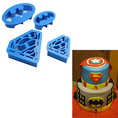 Aus Seller.4pcs Batman & Superman Cookie Cutters Fondant Mould Decorating Icing