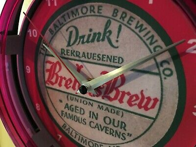Brehm's Baltimore Beer Bar Advertising Man Cave Neon Wall Clock Sign
