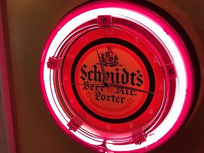 Schmidt's Philadelphia Beer Bar Advertising Man Cave Neon Wall Clock Sign