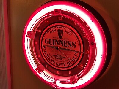 Guinness Stout Beer Bar Advertising Man Cave Neon Wall Clock Sign2