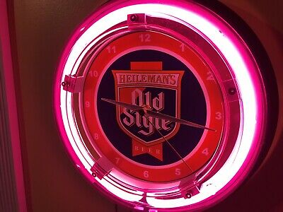 Heileman's Old Style Chicago Beer Bar Advertising Man Cave Neon Wall Clock Sign