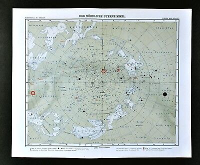 1911 Stieler Map North Sky Star Chart Sirius Polaris Cassiopeia Zodiac Astrology