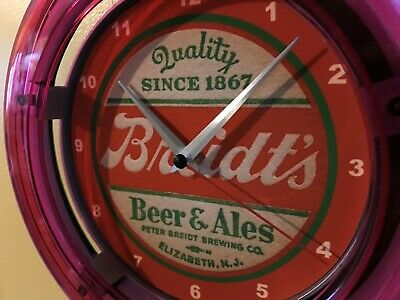 Breidt's New Jersey Beer Bar Advertising Man Cave Neon Wall Clock Sign
