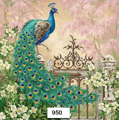 (950) TWO Individual Paper Luncheon Decoupage Napkins - PEACOCK, BIRD, EXOTIC