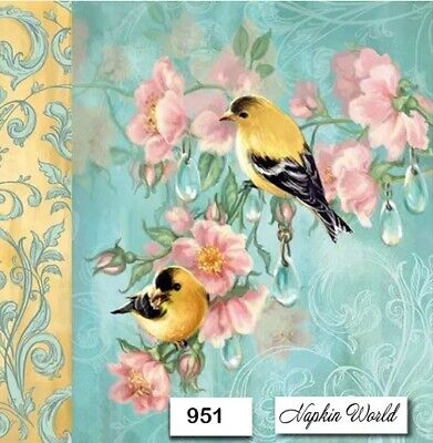 (951) TWO Individual Paper Luncheon Decoupage Napkins - BIRDS, BLOSSOMS, FLORAL