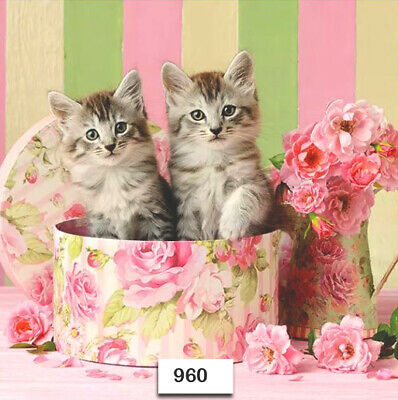 (960) TWO Individual Paper Luncheon Decoupage Napkins - CATS KITTENS BOX FLOWERS