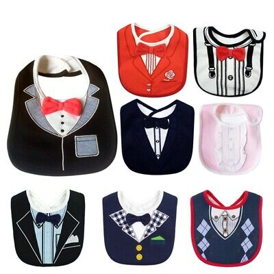 Baby Boy Girl Cotton Waterproof Bib Tuxedo Formal Bow Tie Gentleman Feeding