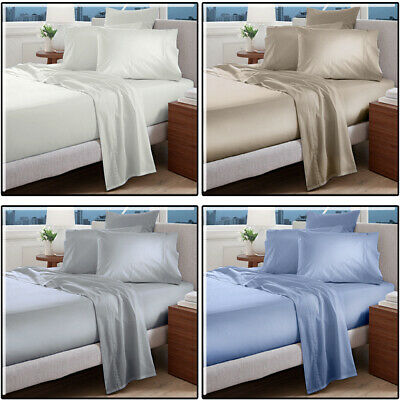 Egyptian Cotton Bed Sheet Set 1000TC 4 PCS Flat Fitted Queen King Double Single