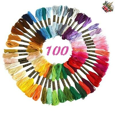 100 Anchor Cross Stitch Cotton Embroidery Thread Floss Skeins ASSORTED Colors
