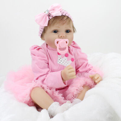 "22"" Lifelike Reborn Baby Girl Doll Silicone Maternity Training Handmade Toy Gift"