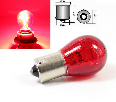 Car Red BA15S P21W 1156 382 Indicator Front Turn Signal Chrome Silver Bulbs 12V