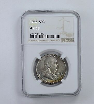AU58 1952 Franklin Half Dollar - Rainbow Toned - Graded NGC *1653