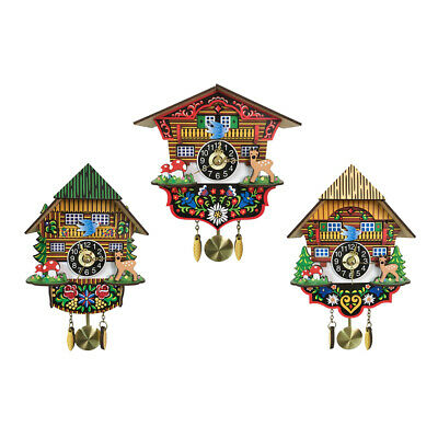 Antique Wooden Cuckoo Clock with Vibrant Color Swing Wall Clock for Kids