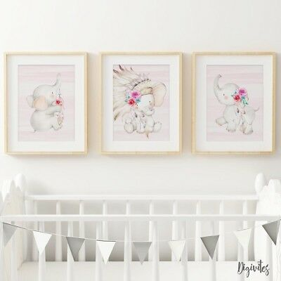 Baby Girl Elephant Nursery Prints, set of 3, Boho Tribal Elephant Prints. Decor