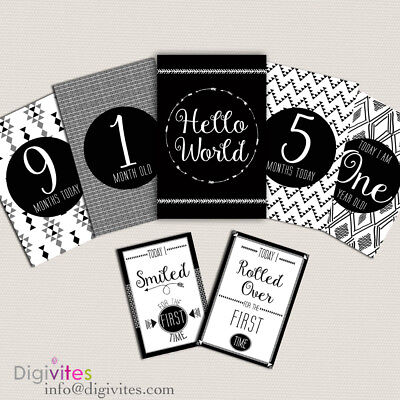 Baby Milestone Cards, Tribal Milestone and moments cards, Monochrome, Baby Gift