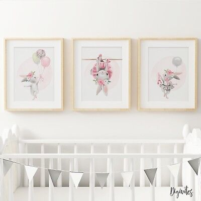 Nursery Wall Art Prints Bedroom Ballerina Bunny with balloons. Girl Bedroom art.