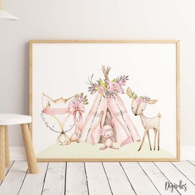 Baby, Girl Nursery Wall Art Prints Watercolour Boho Woodland Animals Floral.