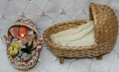 Dolls House Miniature Tiny Wicker Crib With Baby & 3 Fluffy Toys & Larger Basket