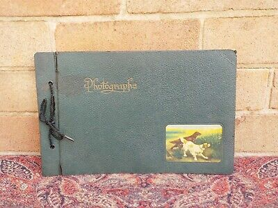 Vintage empty Photo Album c1930s Hunting Dogs on front cover