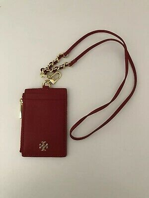 c16aa55002ce Tory Burch Emerson Saffiano Leather Lanyard ID Holder Key Chain Kir Royale  Red