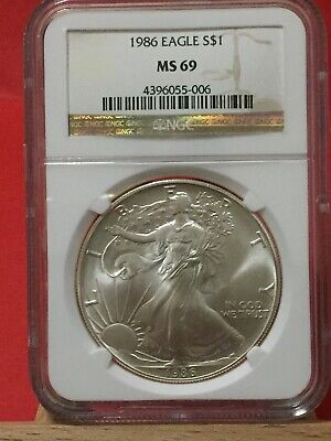 1986 NGC MS69 American Eagle Silver Dollar Coin