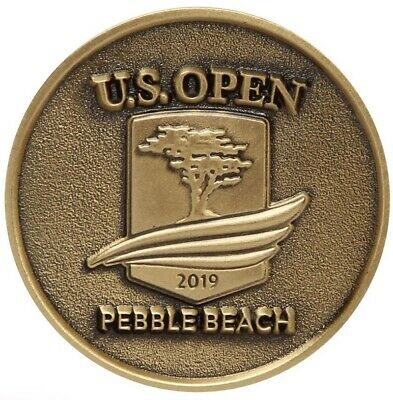 2019 US Open (PEBBLE BEACH) Large TWO SIDED - GOLD - LOGO Golf BALL MARKER