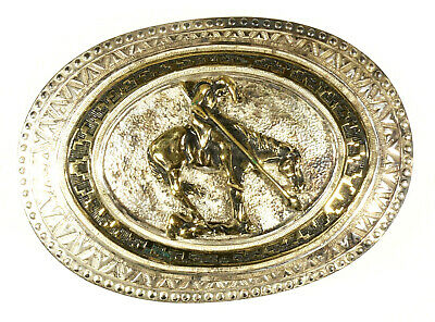 (Prl)  Fibbia Cowboy  Crumrine Originale Made In Usa Heavy Silver Plate Buckle