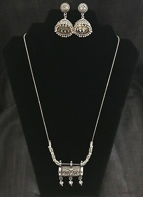 Antique, Oxidized German Silver Pendant Tribal Necklace With Jhumki Earrings
