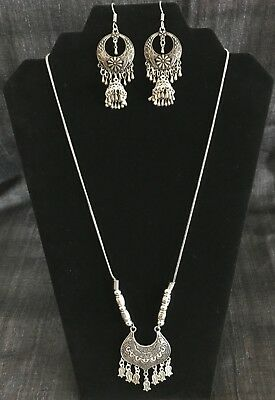Antique, Oxidized German Silver Pendant Tribal Necklace With Earrings