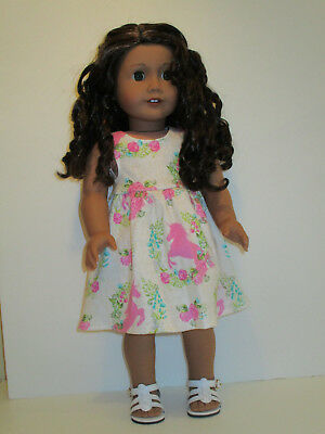 """Pink Unicorn & Flowers Sundress for 18"""" Doll Clothes American Girl"""