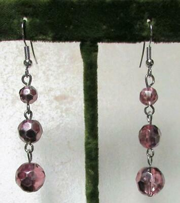 Vintage 70's Glass Crystal Bead Drop Dangle Pierced Earrings Pinky Purple