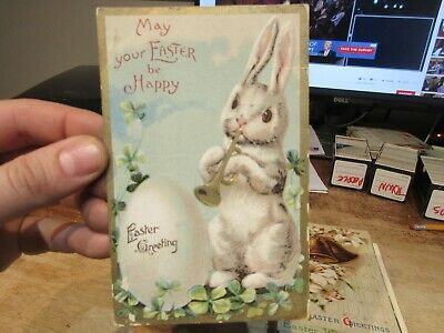 Vintage Old Antique Victorian ERA Postcard Happy EASTER Rabbit Bunny Bugle Horn