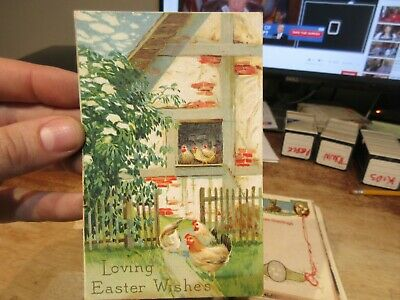 Vintage Old Antique Victorian ERA Postcard Happy EASTER Chicks Hen House Coop