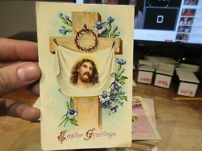 Vintage Old Antique Victorian ERA Postcard Happy EASTER Jesus Cross Christ Crown