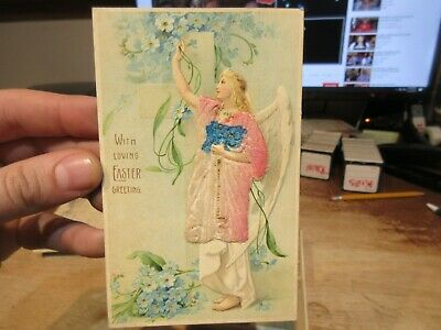 Vintage Old Antique Victorian ERA Postcard Happy EASTER Angel Real Fabric Dress