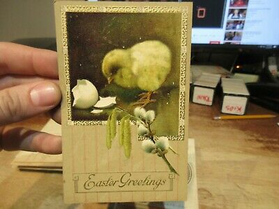 Vintage Old Antique Victorian ERA Postcard Happy EASTER Baby Chick Peep Hatched