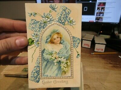 Vintage Old Antique Victorian ERA Postcard Happy EASTER Bride Girl Cross Window