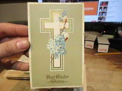 Vintage Old Antique Victorian ERA Postcard Happy EASTER Cross Religious Flowers