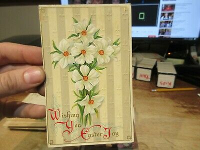 Vintage Old Antique Victorian ERA Postcard Happy EASTER Floral Cross Lily Flower