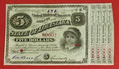 """1874 $5 US State of Louisiana """"BABY BONDS"""" Old US Paper Money Currency!"""